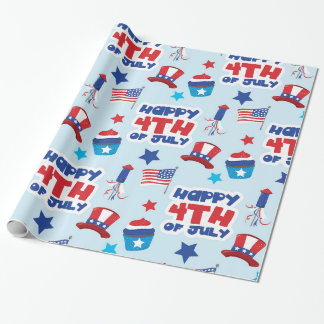 Patriotic happ 4th july wrapping paper