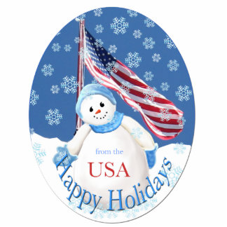 Patriotic Happy Holidays Snowman Ornament Photo Sculpture Decoration