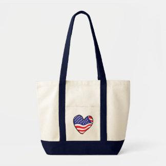 Patriotic Heart Design Tote Bag