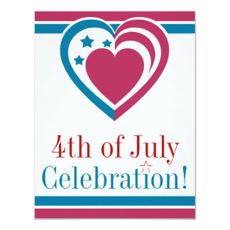 Patriotic Heart - July 4th 11 Cm X 14 Cm Invitation Card