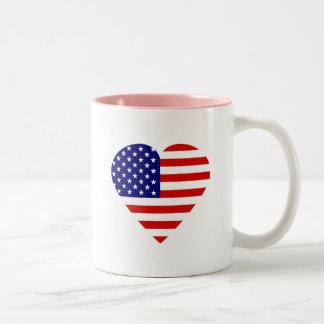 Patriotic Heart Two-Tone Coffee Mug