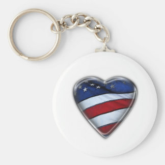 Patriotic Heart US FLag Basic Round Button Key Ring