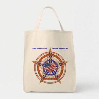 Patriotic Heart View Notes Below Grocery Tote Bag