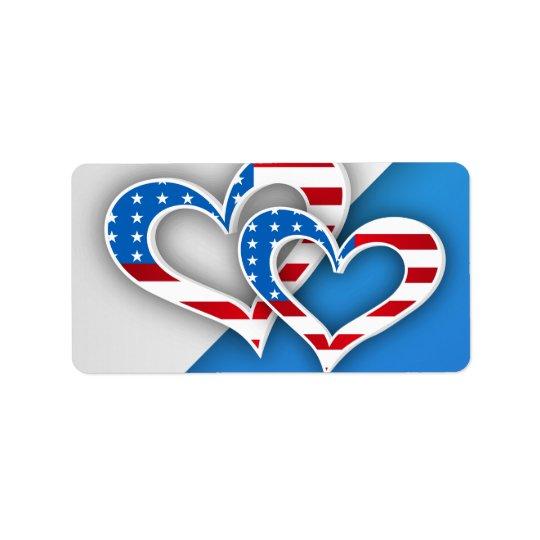 Patriotic Hearts Address Label