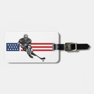 Patriotic Hockey Design Luggage Tags