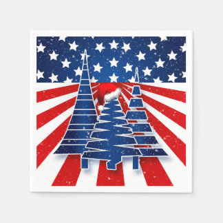 Patriotic Holiday Celebration with Christmas Trees Disposable Serviettes