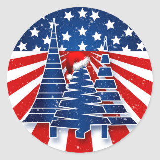 Patriotic Holiday Trees with Red White and Blue Classic Round Sticker
