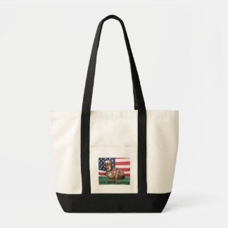 PATRIOTIC HOT DOG, GOD BLESS AMERICA TOTE BAGS