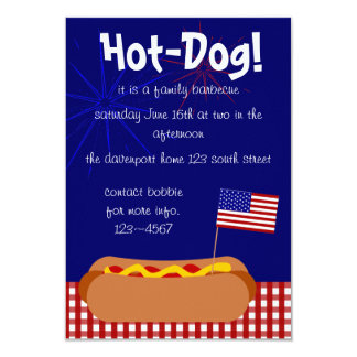 Patriotic Hot Dog! Party 9 Cm X 13 Cm Invitation Card