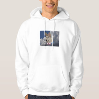 Patriotic Husky Dog Fluffy White Clouds Hoodie