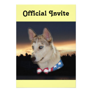 Patriotic Husky Dog Sunset Personalized Invite