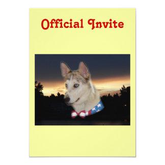 Patriotic Husky Dog Sunset Invitation