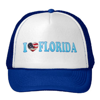 Patriotic I heart Florida on American flag Trucker Hats