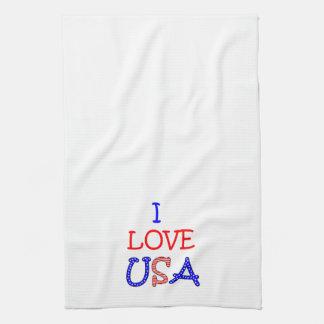 Patriotic I Love USA Hand Towels