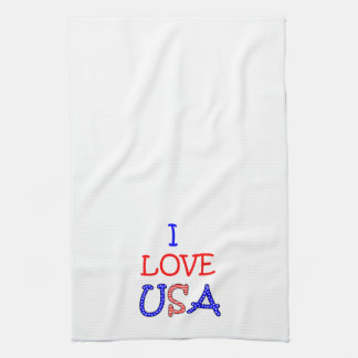 Patriotic I Love USA Tea Towel