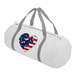 Patriotic Independence day damask heart Gym Duffel Bag