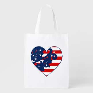 Patriotic Independence day damask heart Reusable Grocery Bags