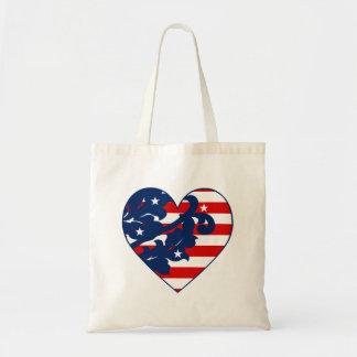 Patriotic Independence day damask heart Budget Tote Bag