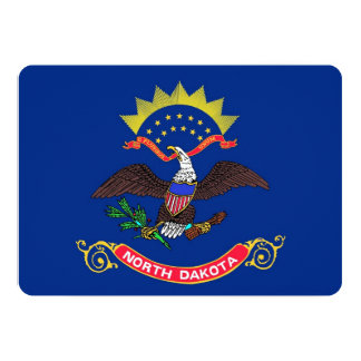 "Patriotic invitations with Flag of North Dakota 5"" X 7"" Invitation Card"