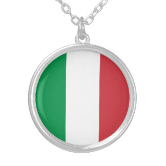 Patriotic Italian Flag Silver Plated Necklace