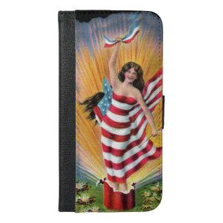 Patriotic July 4th Lady Liberty USA Flag Fireworks