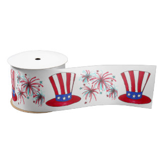 Patriotic July 4th USA Uncle Sam Fireworks Ribbon Satin Ribbon