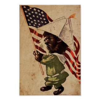 Patriotic Kitty - Vintage illustration poster