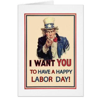 Patriotic Labor Day, Vintage Uncle Sam Card