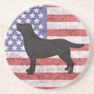 Patriotic Labrador Outline 4th of July Coaster