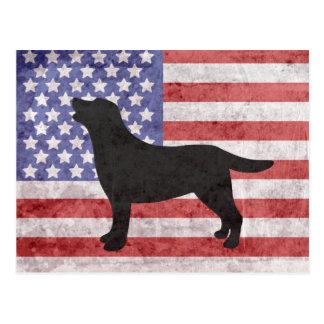 Patriotic Labrador Outline 4th of July Postcard
