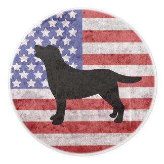 Patriotic Labrador Outline American Flag Knob