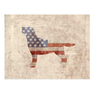 Patriotic Labrador Outline American Flag Postcard