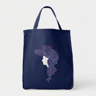 Patriotic Lady Grocery Tote Bag