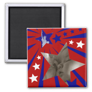 Patriotic Liberty and Stars Picture Frame Magnet