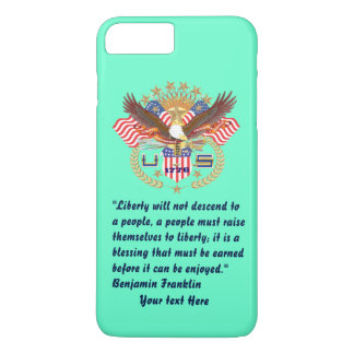 Patriotic Liberty Peace Turquoise iPhone 8 Plus/7 Plus Case
