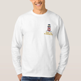 Patriotic Lighthouse USA Embroidered Long Sleeve T-Shirt