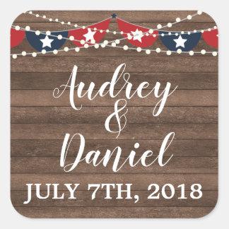 Patriotic Lights Fourth of July Banner Wedding Square Sticker