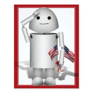 Patriotic Little Robo-x9 11 Cm X 14 Cm Invitation Card