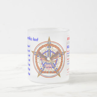 Patriotic Logo USA View About Design below Frosted Glass Mug