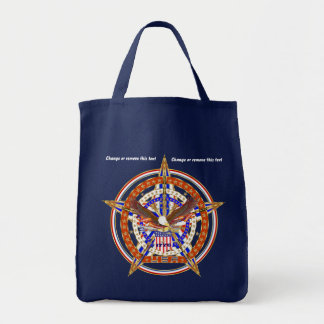 Patriotic Logo USA View About Design below Grocery Tote Bag