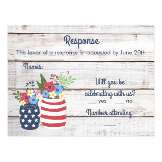 Patriotic Love II Fourth of July Response/RSVP Postcard