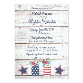 Patriotic Love II Rustic 4th of July Bridal Shower Card