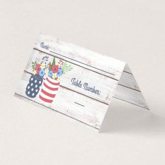 Patriotic Love II Rustic 4th of July Wedding Place Card