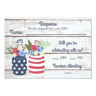 Patriotic Love II Rustic Fourth of July Response Card