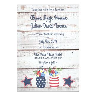 Patriotic Love II Rustic Fourth of July Wedding Card