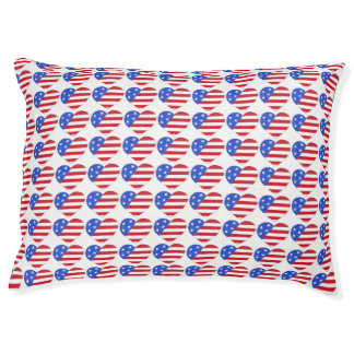 Patriotic Love USA American Flag Heart Dog Bed