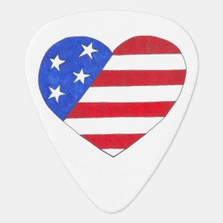 Patriotic Love USA American Flag Heart Guitar Pick