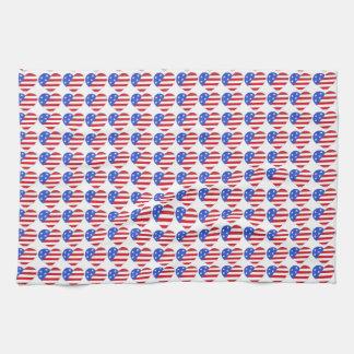 Patriotic Love USA July 4th Stars and Stripes Flag Tea Towel