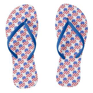 Patriotic Love USA Stars Stripes Heart American Thongs