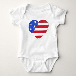 Patriotic Love USA Stars Stripes Heart July 4th Baby Bodysuit